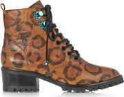 Sophia Webster , Roxy Leopard Print Textured Leather Ankle Boots Leopard Print