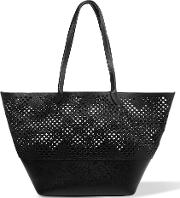 Sophie Anderson , Brenna Laser Cut Textured Leather Tote Black