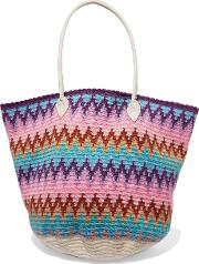 Sophie Anderson , Jonas Leather Trimmed Crocheted Cotton Tote Multi