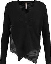 Soyer , Asymmetric Leather And Ribbed Knit Wool Blend Sweater Black