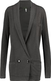 Soyer , Double Breasted Cotton And Cashmere Blend Cardigan Anthracite
