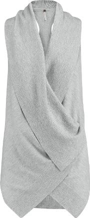 Soyer , Draped Wrap Effect Cashmere Top Gray
