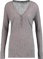 Soyer , Ribbed Linen, Cashmere And Silk Blend Top Taupe