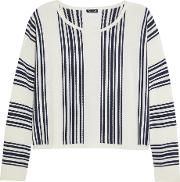 Splendid , Bayside Striped Stretch Knit Sweatshirt Cream