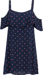 Splendid , Cold Shoulder Polka Dot Crepe Mini Dress Navy