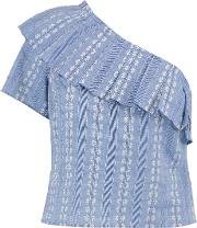 Splendid , One Shoulder Cotton Jacquard Top Blue
