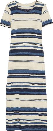 Splendid , Striped Cotton Maxi Dress Navy