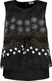 Suno , Layered Satin Faille And Embellished Organza Top Black