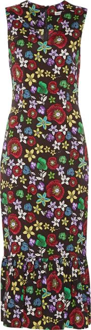 Suno , Pleated Floral Print Stretch Silk Crepe De Chine Midi Dress Multi