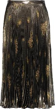 Suno , Pleated Metallic Printed Silk Blend Midi Skirt Multi