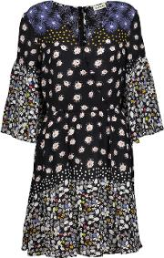 Suno , Pleated Printed Silk Mini Dress Multi
