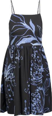 Suno , Pleated Printed Stretch Silk Mini Dress Black