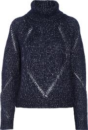 Tanya Taylor , Billi Pointelle Trimmed Wool And Silk Blend Turtleneck Sweater Midnight Blue