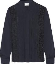 Tanya Taylor , Estelle Lace Paneled Silk Crepe De Chine Shirt Midnight Blue