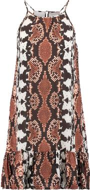 Tart Collections , Angelica Ruffled Snake Print Crepe De Chine Mini Dress Brown