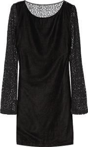Tart Collections , Caramia Paneled Velour And Corded Lace Mini Dress Black