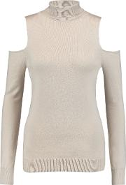 Tart Collections , Muriel Cold Shoulder Cotton And Cashmere Blend Turtleneck Top Beige