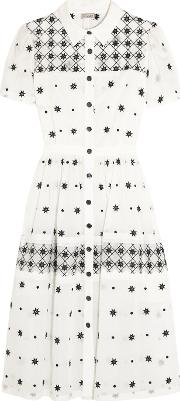 Temperley London , Etta Mesh Paneled Embroidered Cotton Blend Maxi Dress Off White