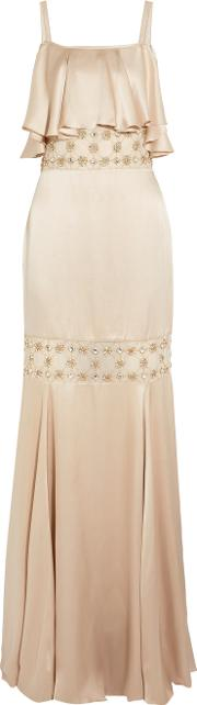 Temperley London , Ruffled Embellished Silk Blend Satin Gown Beige