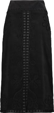 Temperley London , Voyage Embroidered Cotton Blend Corduroy Midi Skirt Black