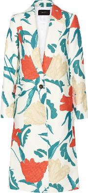 Thakoon , Oversized Floral Print Twill Coat White