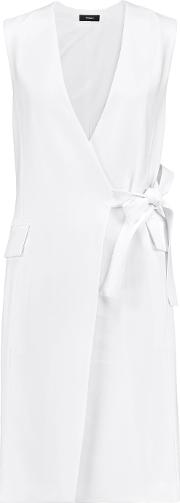 Theory , Livwilth Crepe Mini Wrap Dress Off White
