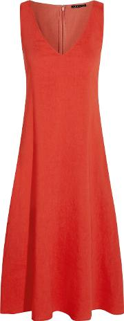 Theory , Madrea Stretch Linen Blend Midi Dress Tomato Red