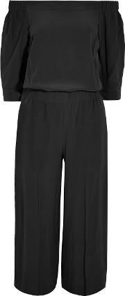 Theory , Off The Shoulder Silk Jumpsuit Black