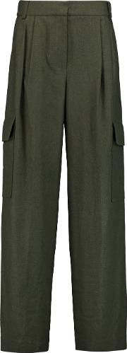 Tibi , Owen Twill Wide Leg Pants Army Green