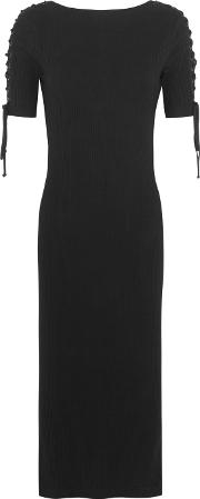 Title A , Lace Up Ribbed Stretch Cotton Jersey Dress Black