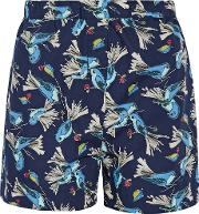 Title A , Printed Cotton Poplin Shorts Navy