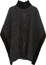 Tomas Maier , Wool Turtleneck Poncho Charcoal
