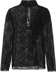 Topshop Unique , Burnthwaite Ruffled Lace Top Black