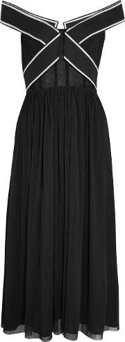 Topshop Unique , Constance Off The Shoulder Tulle Gown Black