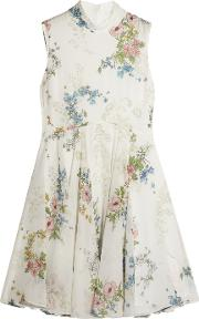 Topshop Unique , Hambledon Floral Print Silk Georgette Dress Ivory