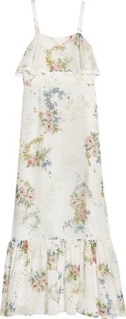 Topshop Unique , Hambledon Floral Print Silk Georgette Maxi Dress Ivory