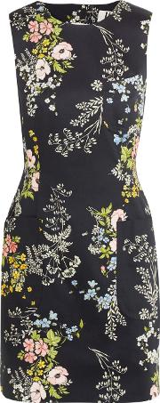 Topshop Unique , Harleyford Floral Print Stretch Cotton Mini Dress Navy