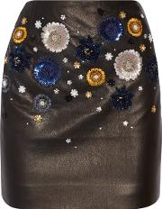 Topshop Unique , Linard Embellished Leather Mini Skirt Black
