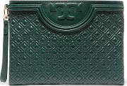 Tory Burch , Fleming Quilted Leather Clutch Dark Green