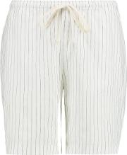 Toteme , Kruger Striped Cotton And Linen Blend Shorts White