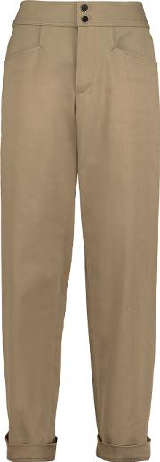 Vanessa Seward , Belize Stretch Cotton Twill Straight Leg Pants Mushroom