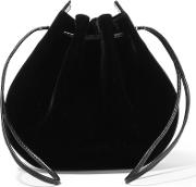 Vanessa Seward , Caprice Patent Leather Trimmed Velvet Shoulder Bag Black