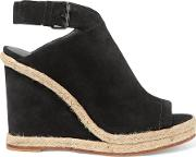 Vince , Evangeline Jute Trimmed Suede Wedge Sandals Black
