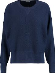 Vince , Waffle Knit Wool And Silk Blend Sweater Indigo