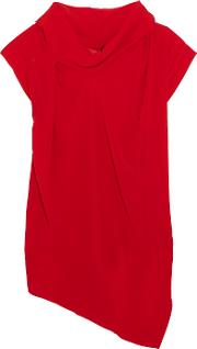 Vivienne Westwood Anglomania , Cave Draped Georgette Top Red