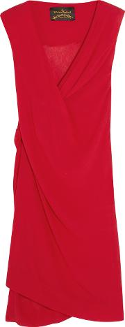 Vivienne Westwood Anglomania , Stitch Draped Crinkled Georgette Dress Red