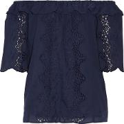 W118 By Walter Baker , Leslie Off The Shoulder Broderie Anglaise Cotton Top Midnight Blue