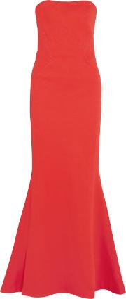 Zac Posen , Strapless Fluted Bandage Gown Coral