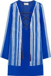 Zeusdione , Zeus Dione Thasos Embroidered Silk Satin Mini Dress Royal Blue