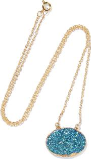 Dara Ettinger , Gold Plated Stone Necklace Blue